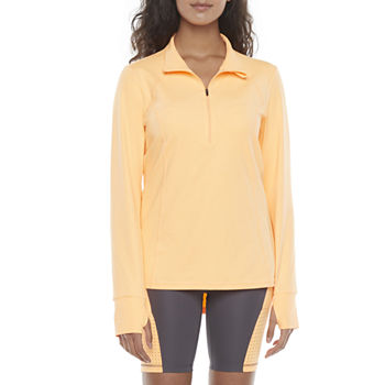 Xersion Womens High Neck Long Sleeve Quarter-Zip Pullover