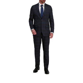Haggar Signature Mens Plaid Stretch Classic Fit Suit Pants