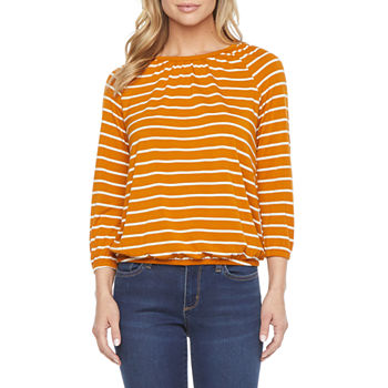 a.n.a-Tall Womens Crew Neck 3/4 Sleeve Peasant Top