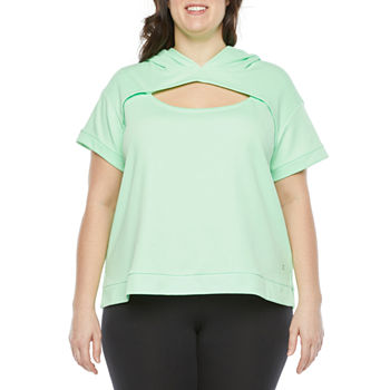 Xersion Womens Round Neck Short Sleeve Sweatshirt Plus