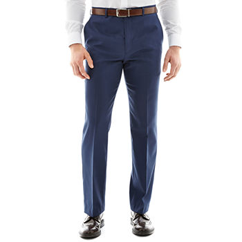 Stafford Travel Wool Blend Stretch Mid Blue Flat Front Pants-Slim Fit