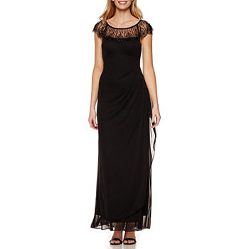 DJ Jaz Cap Sleeve Beaded Neck Evening Gown
