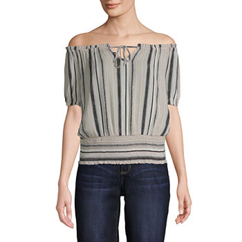 Byer California-Juniors Womens Straight Neck Short Sleeve Blouse
