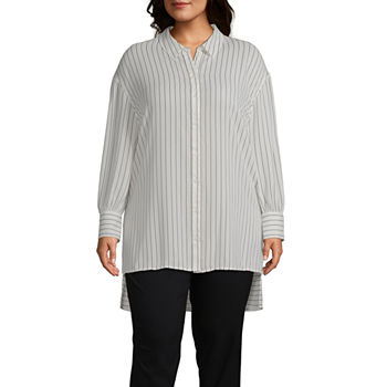 Worthington Womens Long Sleeve Button Front Tunic - Plus