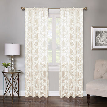 Regal Home Lombardi Floral Sheer Rod-Pocket Single Curtain Panel