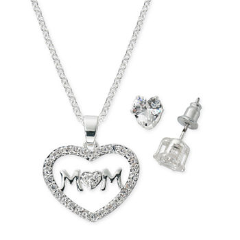 Sparkle Allure Light Up Box Mom 2-pc. Cubic Zirconia Silver Plated Jewelry Set