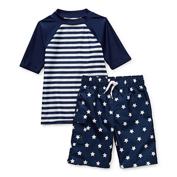 Peyton & Parker Little & Big Boys Striped Rash Guard Set