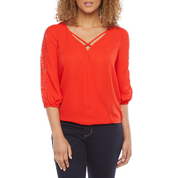 Bold Elements Womens V Neck Elbow Sleeve Blouse
