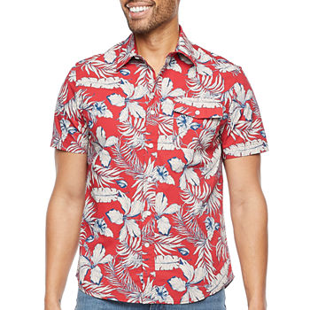 St. John's Bay Mens Short Sleeve Floral Button-Down Shirt