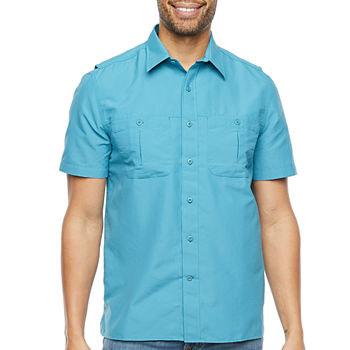 St. John's Bay Outdoor Mens Short Sleeve Button-Down Shirt