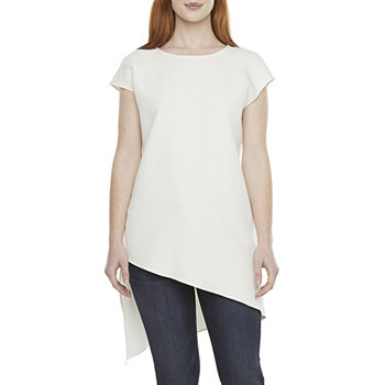 Worthington Womens Round Neck Short Sleeve Tunic Top