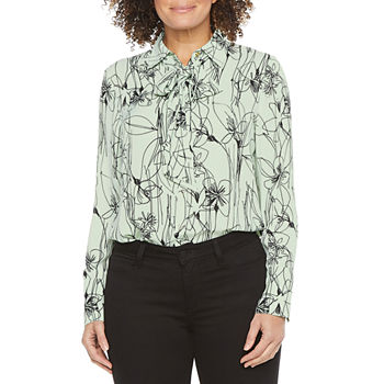 Worthington Womens Tie Neck Bow Blouse