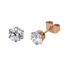 Cubic Zirconia 6mm Stainless Steel and Rose-Tone IP Stud Earrings