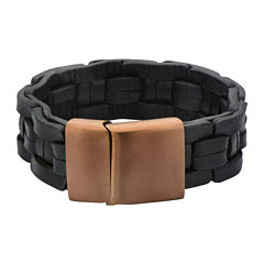 Mens Black Leather Link-Style Braided Bracelet