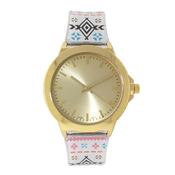 Womens Gold-Tone Tribal Print Strap Watch