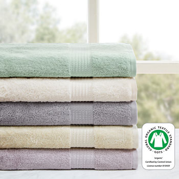 Madison Park Organic Cotton Solid 6-pc. Solid Bath Towel Set