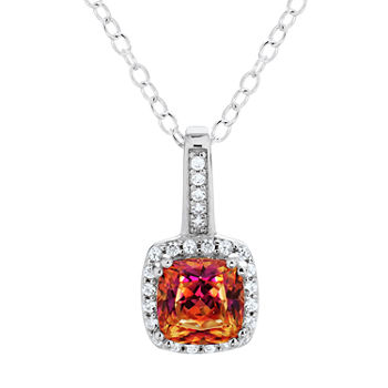 Womens Red Cubic Zirconia Sterling Silver Pendant Necklace