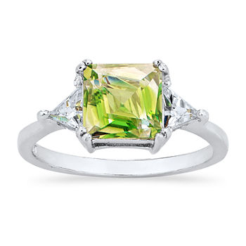 Womens Green Cubic Zirconia Sterling Silver 3-Stone Cocktail Ring