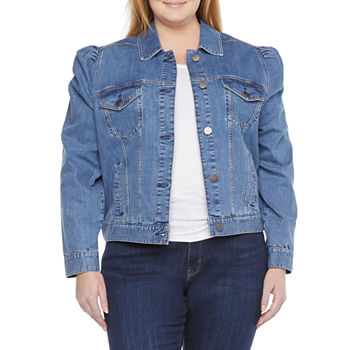 a.n.a Puff Sleeve Lightweight Denim Jacket-Plus