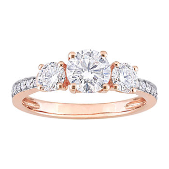 Womens Lab Created White Moissanite 10K Rose Gold 3-Stone Engagement Ring