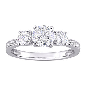 Womens Lab Created White Moissanite 10K White Gold 3-Stone Engagement Ring