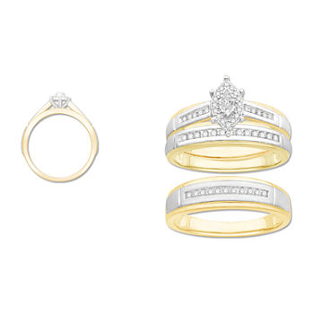 3PC Trio Set Featuring 1/3 CT. T.W. Diamond 10K Two Tone Gold Womens Size 7 Bridal Set and Mens Size 10.5 Band