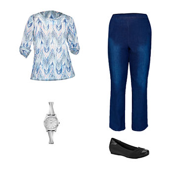 ALFRED DUNNER ZIG ZAG: Alfred Dunner Top, Flat-Front Denim Pants & Bare Traps Shoes