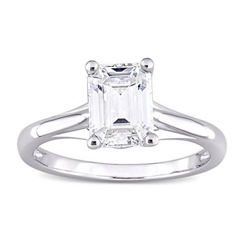 Womens Lab Created White Moissanite 10K White Gold Solitaire Engagement Ring