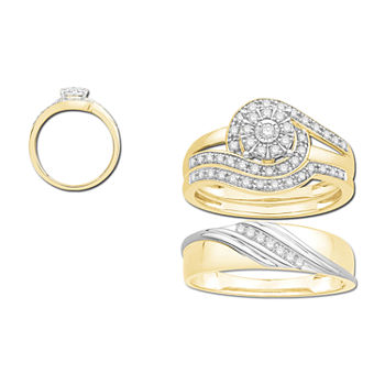 3PC Trio Set Featuring 3/8 CT. T.W. Diamond 10K Two Tone Womens Size 7 Bridal Set and Mens Size 10.5 Band