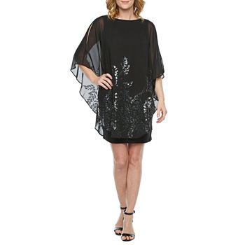 DJ Jaz 3/4 Sleeve Embellished Shift Dress