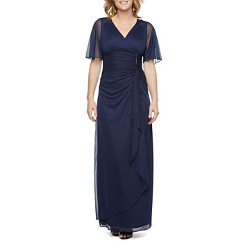DJ Jaz Short Flutter Sleeve Embellished Evening Gown