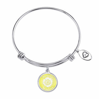 Footnotes You Are My Sunshine Silver Over Brass Stainless Steel 8 1/4 Inch Bangle Bracelet