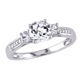 Modern Bride Gemstone Womens Diamond Accent Lab Created White Sapphire 10K White Gold 3-Stone Engagement Ring