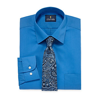 Stafford Mens Point Collar Long Sleeve Stretch Box Shirt + Tie Set Big And Tall