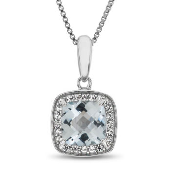 Fine Jewelry Womens Diamond Accent Blue Aquamarine Sterling Silver Pendant Necklace XMFCa