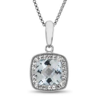 Fine Jewelry Womens Diamond Accent Blue Aquamarine Sterling Silver Pendant Necklace