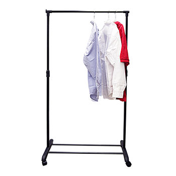 Portable And Expandable Garment Rack In Black Chrome 18 Months Simple Garment Racks Irons Laundry Care For The Home JCPenney