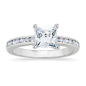 Womens White Cubic Zirconia Sterling Silver Engagement Ring