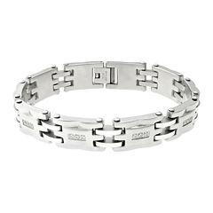 Mens Cubic Zirconia Stainless Steel Link Bracelet
