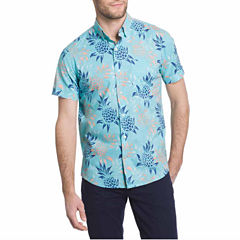 IZOD Short Sleeve Dockside Chambray Button-Front Shirt