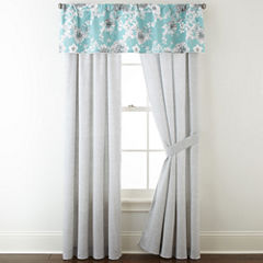 JCPenney Home Pencil Floral Rod-Pocket Curtain Panel