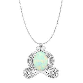 d6eb42da04e1e Enchanted Disney Fine Jewelry 1/10 CT. T.W. Diamond and Lab-Created Opal  Sterling Silver Pendant Necklace