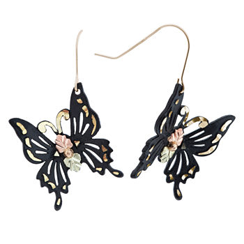 Black Hills Gold Butterfly Drop Earrings