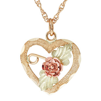 Black Hills Gold Womens 10K Tri-Color Gold Heart Pendant