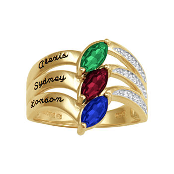 Artcarved Personalized 17.5MM Multi Color Stone 10K Gold Band