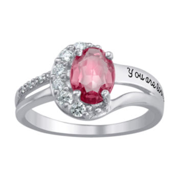 Fine Jewelry Artcarved Personalized Womens Simulated Multi Color Stone Sterling Silver Cocktail Ring
