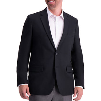 Haggar Active Series Solid Gab Tailored Fit Blazer Mens Sport Coat