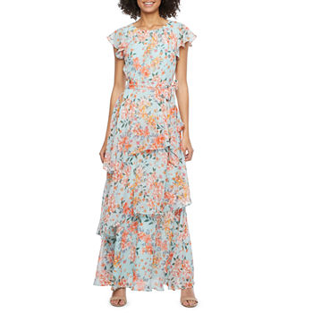 R & K Originals Short Sleeve Floral Maxi Dress