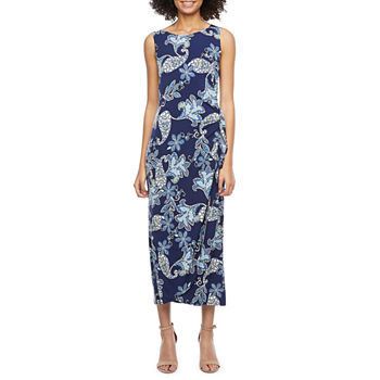 Robbie Bee Sleeveless Paisley Puff Print Maxi Dress