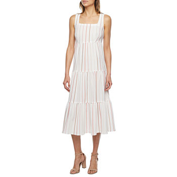 Melonie T Sleeveless Striped Midi Fit & Flare Dress with Coordinating Face Mask